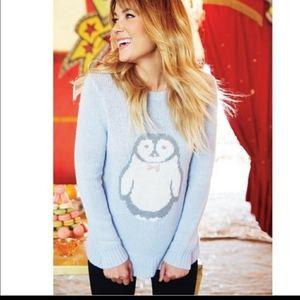Lauren Conrad Penguin Cozy Blue Pullover Sweater